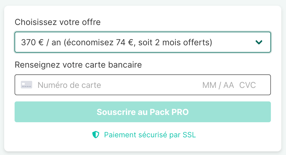 Pack PRO en paiement annuel