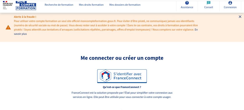 CPF : Se connecter à moncompteformation.gouv.fr