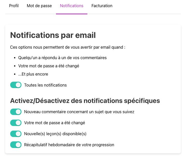 Notifications apprenant